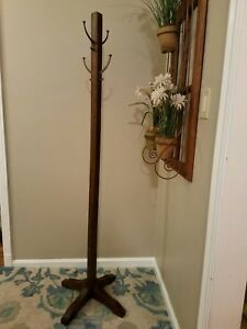 Antique Quarter Sawn Mahogany Mission Style Hall Tree Coat Rack Early 1900s