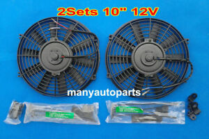 2 X Universal Slim 10 12v Electric Radiator Engine Bay Cooling Fan 10 Inch