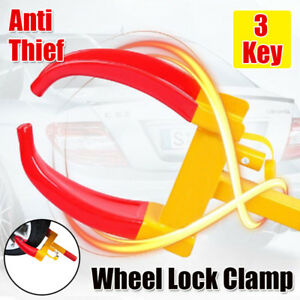 3 Keys Wheel Lock Clamp Boot Tire Claw Trailer Auto Car Truck Anti Theft Towing