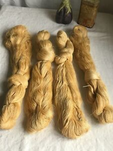 Antique French Silk Skeins Pale Yellow 100s Yards Lace Making Fine Embroidery