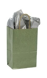 Paper Shopping Bags 100 Metallic Sage Green 5 X 3 X 8 Merchandise Gift