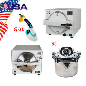 8l 18l 900w Usa Medical Dental Autoclave Sterilizer Steam Lab Equipment Safe Use