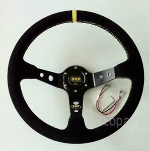 Universal 350mm 14inch Car Auto Sport Suede Deep Dish Steering Wheel horn Button