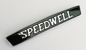 Classic Austin Mini Speedwell Cast Metal Black Chrome Pin Mounting Badge