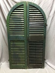 Antique Pair Arched Dome Top Wood Louvered Window Shutters 15x54 Old Vtg 563 18c