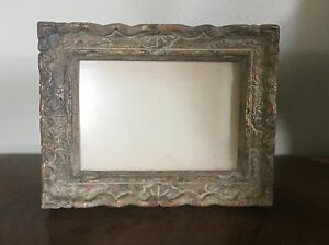 Small Vintage Paint Decorated Gray Gilt Carved Wood Picture Frame French Style