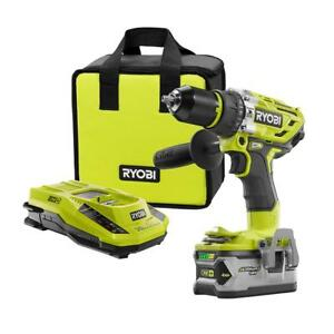 New Ryobi 18 volt One Brushless Hammer Drill Kit W Battery And Charger