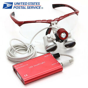 Red Dentist Dental Surgical Loupes 3 5x 420mm With Led Head Light Lamp us Fda