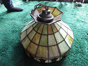 Antique Deco Or Arts Crafts Stained Glass Hanging Chandelier Light Fixture Wow