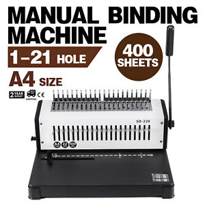 Steel Comb Coil Binding Machine A4 21 Holes Paper Puncher Home Spiral Documents
