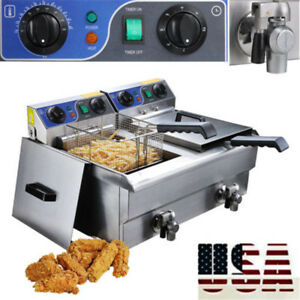 20l Commercial Deep Fryer W Timer Drain Fast Food French Frys Electric Cooker