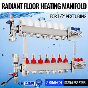 7 Branch 1 2 Pex Radiant Floor Heating Manifold Set Vertical Safe Upside Down
