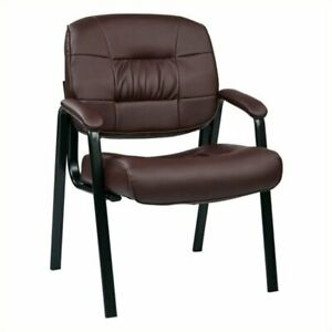 Scranton Co Leather Visitors Guest Chair In Burgundy