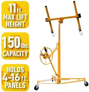 Pro series Drywall Panel Hoist Lifts 11 Ft Rolling Casters Welded Frame Steel