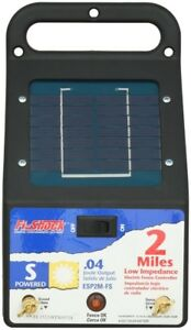 Solar Powered Electric Fence Energizer Low impedance 2 Miles Fi shock 2 Mile