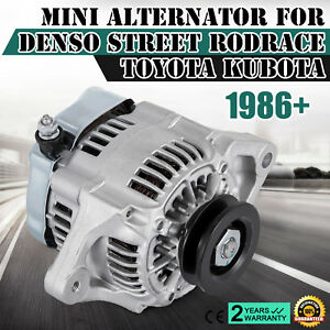 Top Output Amp Chrome Mini Alternator Fit Denso Street Rod Race 1 wire Cool