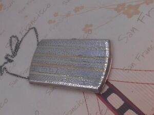 Beautiful Estate Antique Art Deco Sterling Silver And 14k Gold Card Case