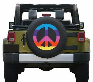 32 Boomerang Peace Sign Tire Cover Rainbow Fits Jeep Wrangler Jk Usa