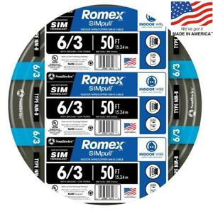 Southwire 63950032 Romex Simpull 50 ft 6 3 Non metallic Wire by the roll New