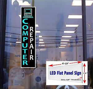 Computer Repair Led Flat Panel Window Sign 48x12