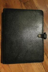 Vtg deskfax filofax Dx1 clf black Calf Leather Planner 9 ring Notebook inserts