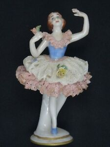 Antique 19c Aelteste Volkstedter Volkstedt Dresden Lace Lady Figurine 4