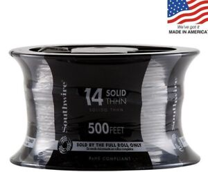 Southwire 11580858 500 ft 14 awg Solid White Copper Thhn Wire by the roll New