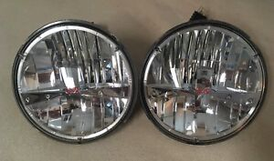 Pair Of 7 Round High low Beam Sealed 5 Led Headlight Replacement Lamps Used