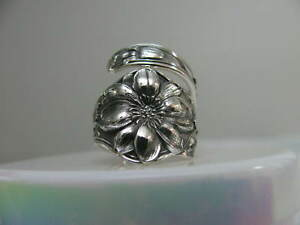 Sterling Silver Spoon Ring S 6 3 4 Flower Floral Jewelry 6304