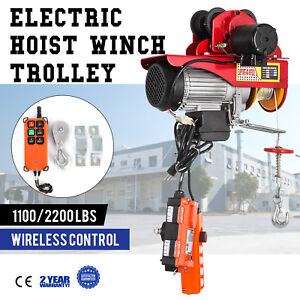 Electric Wire Rope Hoist W Trolley 1100 2200lbs 40ft Localfast 1800w Copper