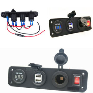 Boat Car Cigarette Lighter Plug Voltmeter Dual Usb Charger Toggle Switch