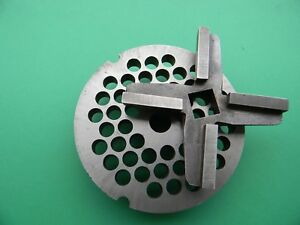 New Industrial Grade One Way 32 Meat Grinder Plate 3 8 Hole Carbide Knife