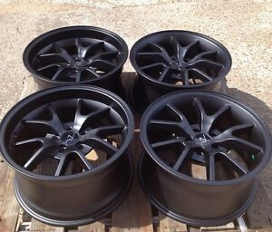 18 Matte Black Mustang Fr500 Replica Deep Dish Wheels 18x9 18x10 5x114 3 05 14