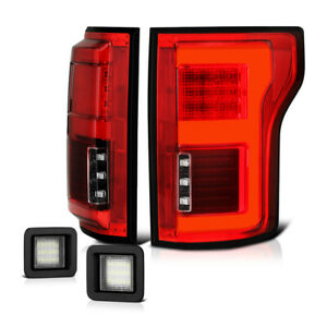 15 18 Ford F150 W blis Red Full Led Bar Tail Lamp Clear License Plate Tag Light