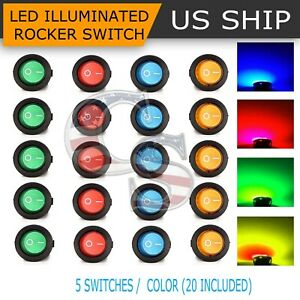 20pcs Led Dot Light 12v Car Auto Boat Round Rocker On Off Toggle Spst Switch New