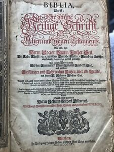 Antique 1725 Bible M Luther German Family Rare Collector