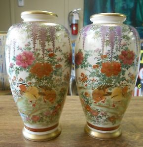 Antique Pair Meiji Period Fine Quality Satsuma Vases Fowl Wisteria Signed 7 5