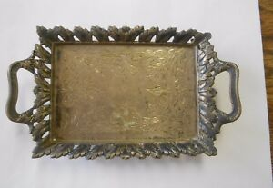 Vintage Mk 800 Pb Ornate Silver Claw Footed Handled Calling Card Tray Acanthus