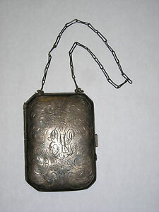 Vintage Sterling Silver 925 Coin Purse Or Makeup Purse Ornately Engraved