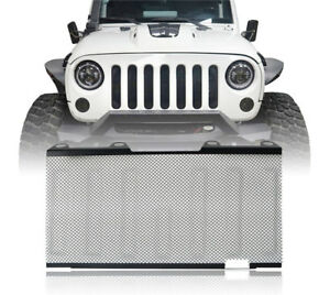 Front Mesh Grille Inserts Bug Screen Black Fit For 2007 2015 Jeep Wrangler Jk