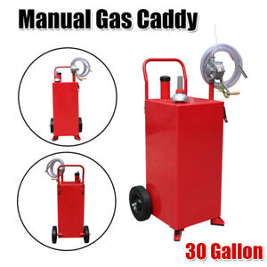 30 Gallon Manual Gas Fuel Diesel Caddy Transfer Tank Container W Rotary Pump Us