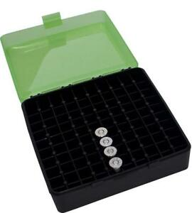 Flip-Top Ammo Box 100 Round For 9mm Cal Heavy Plastic Ammunition Storage Green