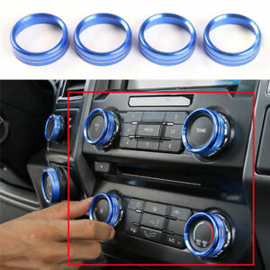 For Ford F150 2016 2018 Blue Audio Switch Knob Ring Cover Trim Air Conditioner