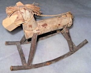 Wooden Rocking Horse Rustic Handcrafted From Bark Covered Limbs