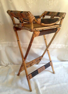 Vintage Bamboo Wicker Serving Cart Bar Tea Boho Chic Utility Table Plant Stand