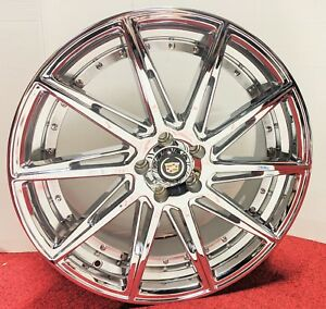 4 Cadillac Chrome Classic Groove 20 X 8 5 Chrome Wheels Fit Most Cadillac
