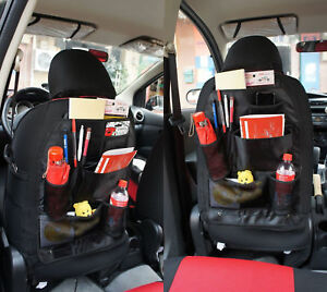Black Auto Car Seat Back Tidy Organizer Holder Pocket Storage Bag Hanger Travel