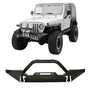 Front Bumper Winch Plate D ring Rock Crawler For 86 06 Jeep Wrangler Tj Yj