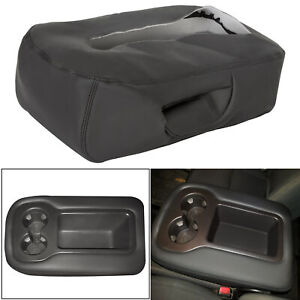 Leather Armrest Console Jump Seat Cover For 07 13 Silverado Tahoe Sierra Black