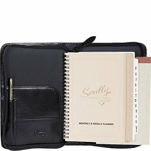 Scully Italian Calfskin Leather Zip Weekly Planner cognac